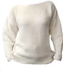 oversize'owy sweter z fakturą, swe125 ecru