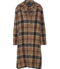 boxy coat wollen jas lange jas bruin han kjøbenhavn