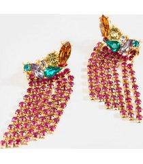 julianna jewel cluster statement earrings - magenta