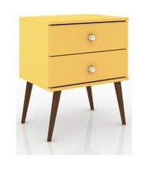 mesa de cabeceira c/2 gavetas móvel bento amarelo