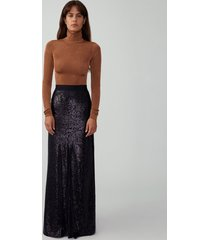 black flared maxi skirt