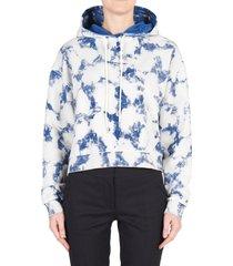women's stella mccartney 2001 logo organic cotton hoodie, size 16 us - white