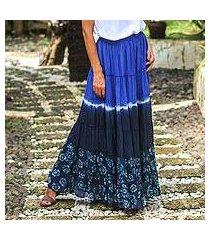 tie-dyed cotton skirt, 'boho batik in royal blue' (thailand)