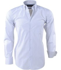 ambassador ongetailleerd heren overhemd geblokt trendy motief in de kraag - wit