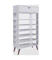 sapateira estante retrô com 1 gaveta e 6 prateleiras branco completa móveis