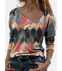 camicetta casual multicolore a maniche lunghe con stampa geometrica da donna