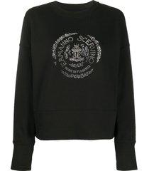 ermanno scervino crystal logo embellished sweatshirt - black