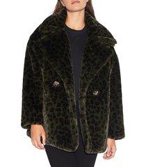 apparis women's amelia leopard-print faux fur peacoat - army green - size l