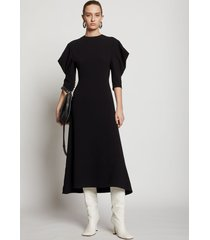 proenza schouler draped puff sleeve dress black 2