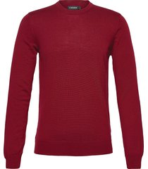lyle merino crew neck sweater gebreide trui met ronde kraag rood j. lindeberg