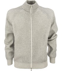 brunello cucinelli cashmere cardigan with ribbed zip