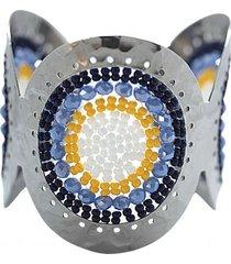 brazalete imperial tejido a mano acero azul bijulovers