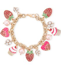 holiday lane gold-tone crystal & imitation pearl sweets charm bracelet, created for macy's