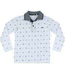 camiseta polo piquet estampada ser garoto branca - branco - menino - algodã£o - dafiti