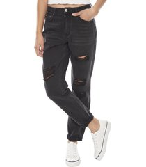 jeans mom básico destroyed negro desgastado  corona