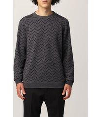 giorgio armani sweater giorgio armani sweater in virgin wool with zig zag jacquard pattern