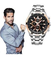 acero inoxidable reloj cuarzo casual hombre curren reloj del negocio (plata negro oro)