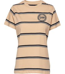 stripe t t-shirts & tops short-sleeved beige lee jeans