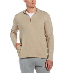 cubavera men's heathered 1/4-zip hooded sweater