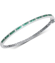 sapphire (1-7/8 ct. t.w.) & white sapphire (1/3 ct. t.w.) bangle bracelet in sterling silver(also available in emerald and certified ruby)