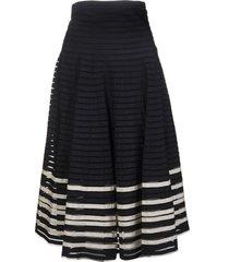 black/white striped mid-length skirt
