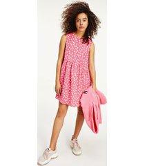 tommy hilfiger women's printed drop waist dress floral print / glamour pink - xs
