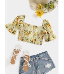 yoins blusa de manga corta con cuello cuadrado fruncido y estampado de hojas