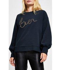 river island womens navy 'bien' chain trim sweatshirt