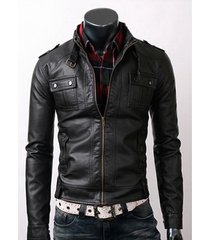 men's leather jacket, men belted collar leather jacket, biker slim fit jacket