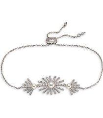 adriana orsini women's ambrosia rhodium-plated, 4-5mm faux pearl & cubic zirconia bolo bracelet
