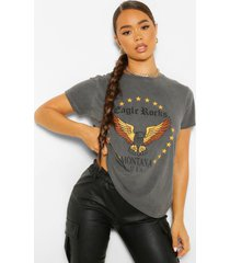 gebleekt eagle rock t-shirt met tekst, charcoal
