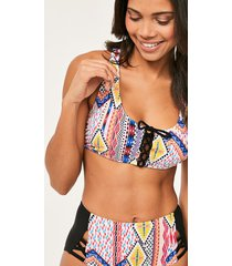sahara lace up crop bikini top