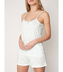 pyjama's / nachthemden admas pyjama kort hemdje zomerbloemen groen