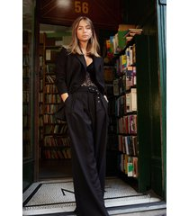 womens on the runway belted wide-leg pants - black