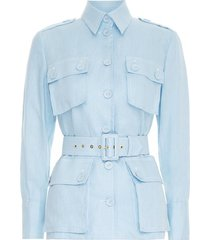 glassy utility jacket in powder blue