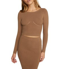 women's good american the cupped rib crop sweater, size 3/4 - brown