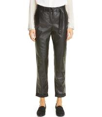 women's akris punto fallon leather & crepe chino pants, size 14 - black