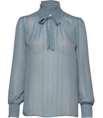 u1073, woven blouse w. smock neck l blouse lange mouwen blauw saint tropez