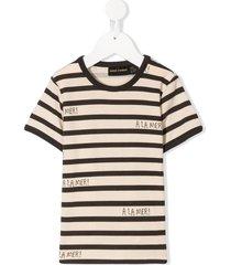 mini rodini à la mer horizontal-stripe t-shirt - neutrals