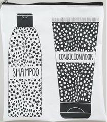 """nécessaire feminina """"shampoo e condicionador"""" com divisória branca"""