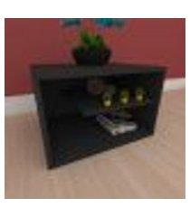 kit com 2 mesa de cabeceira com nichos em mdf preto