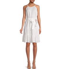 saks fifth avenue women's tiered belted dress - medium indigo - size xs