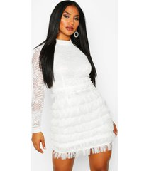 mini-jurk met hoge hals en kanten zoom, wit