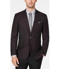 kenneth cole reaction men's slim-fit burgundy & black grid dinner jacket, online only