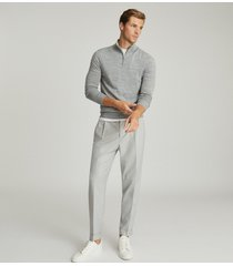 reiss brighton - pleat front trousers in soft grey, mens, size 38
