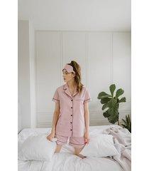 klasyczna piżama brudny róż krótka