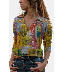 camicetta da donna con colletto rovesciato a maniche lunghe stampata vintage