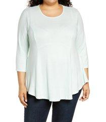 plus size women's bobeau brushed knit babydoll top, size 2x - green