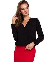 blouse makover k037 wikkel blouse - zwart