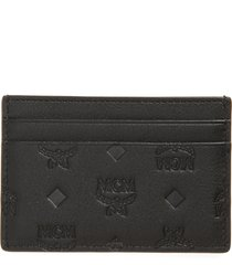 women's mcm klara monogram leather card case - black